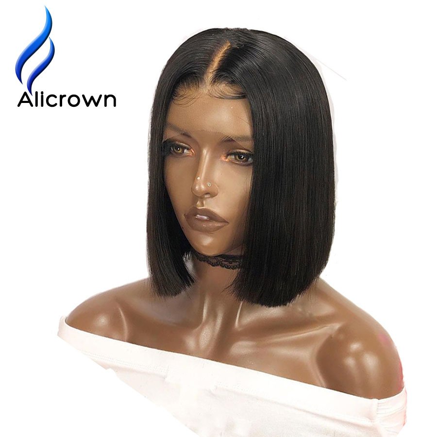 ALICROWN 250 Density Short Bob Lace Front Human Hair Wigs With Baby Hair For Women Brazilian