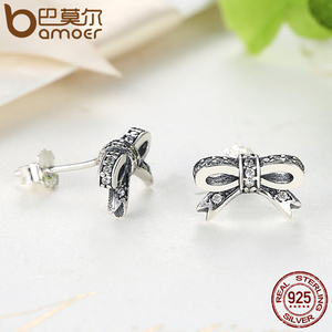Image 5 - BAMOER 925 Sterling Silver Sparkling Bow Knot Stackable Ring Bridal Jewelry Sets Sterling Silver Jewelry Sets & More ZHS022