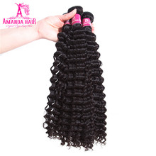 Malaysian Kinky Curly 3 Bundles 100% Human Hair Weaving Natural Color 8-28 Inch Amanda Remy Hair(China)
