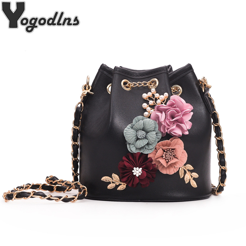 2019 New Fashion Trend Women Handbag PU Leather Bucket Shoulder Bag Chain Flowers Crossbody Bag Female Chic Hand Bags2019 New Fashion Trend Women Handbag PU Leather Bucket Shoulder Bag Chain Flowers Crossbody Bag Female Chic Hand Bags