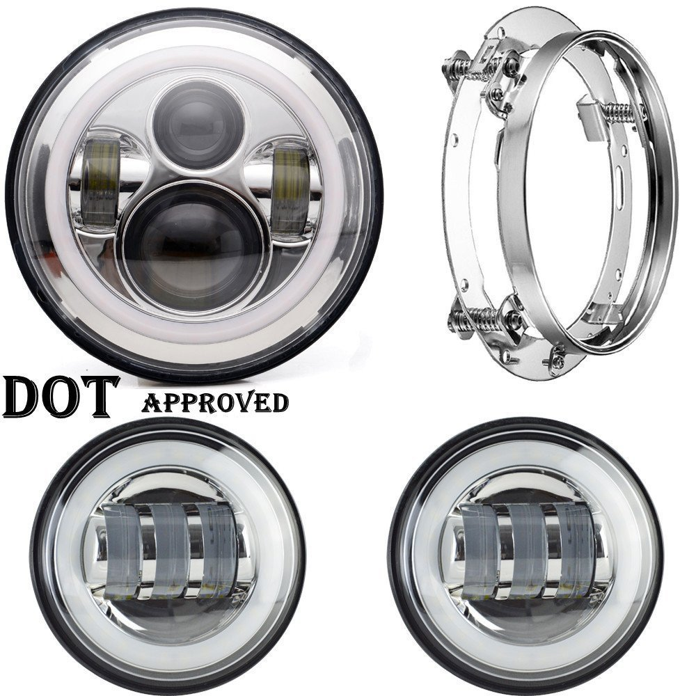 7 Inch Motorcycle Daymaker Led Headlights White Halo Angel Eye DRL + Mounting Bracket Ring +2pcs 4.5 Led Fog Lights Halo Ring 7 inch round led headlightdaymaker drl angel eye with 4 5 inch fog lights halo with 7bracket support ring for jeep