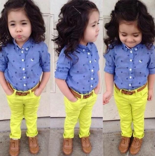 2015 primavera para niños y ropa de otoño dot niña camisa de manga larga pantalones twinset niñas sistemas de la ropa casual