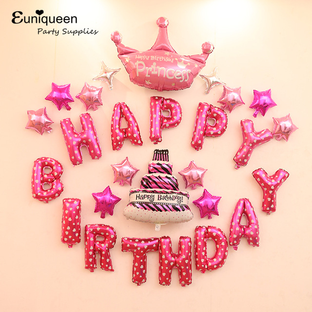 Girl Birthday Kit Pink Theme Happy Letter Balloons Kids Party Ideas Princess Background Wall Decoration