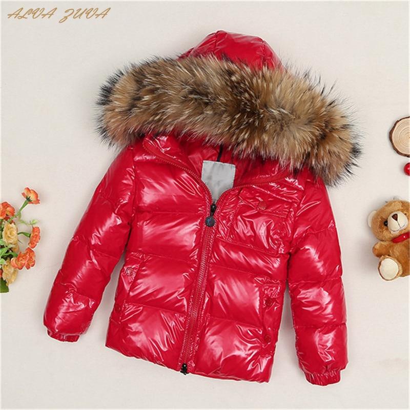 ALVA ZUVA Children Down Jacket 2018 Russia Winter Raccoon Fur Collar Kids Warm Outwear Snow Coat For Boys Girls Cyy149