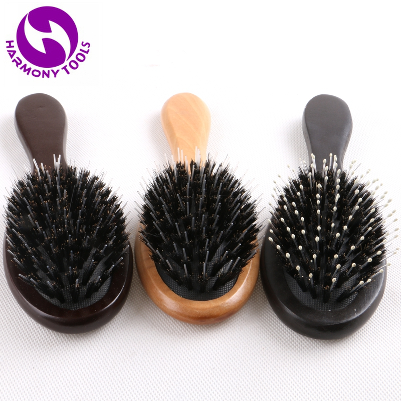 20 Pieces Wooden Handle Hairbrush Boar Bristle Hair Brush Comb with plastic pins for comb hair