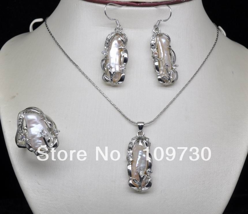 Jewelry 00537 Natural Noble White Keshi BIWA Pearl Sets (necklace&earringring) (A0423)