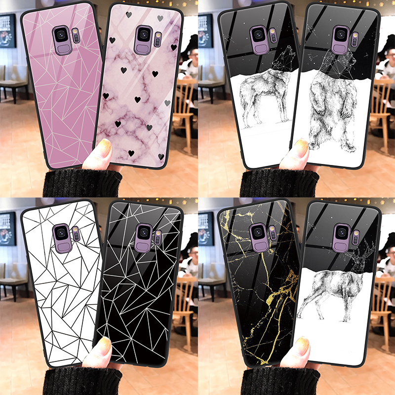 Luxury Love Heart Deer Tempered Glass <font><b>Phone</b></font> Cover <font><b>Case</b></font> For <font><b>Samsung</b></font> Galaxy J8 J4 <font><b>A6</b></font> S8 S9 S10 Plus 2018 S10e A6s Note 8 9 <font><b>Case</b></font> image