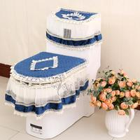 2016 Lace Bathroom Sanitary 3pcs/set Sitting Toilet Seat Cushion Ring + Closestool Cover + Flushing dust cloth Home textile