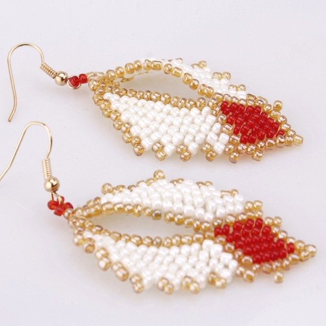 Dudo Jewelry Africa Beaded Earrings Leave Design Wedding Bridal Party Earrings White Gold Red Colorful Nigerian Earrings 2019