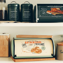 Caja de almacenamiento Vintage para pan francés, caja de almacenamiento con tapa enrollable, color gris claro, cajas pequeñas recubiertas de pan de hierro para decoración del hogar