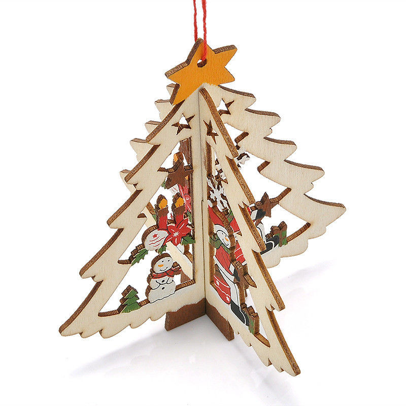 2018 Fashion 6 Pcs Santa Tree Wood Sleigh Pendant Gift Home Door Hanging Decoration New Arrival Christmas New Year Diamond