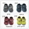 Baby moccasins soft sole moccs leather prewalker booties toddlers infant fringe cow leather moccasin shoes maccasions