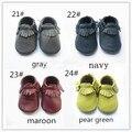 Bebé prewalker botines de cuero mocasines moccs suaves únicos niños infantes fringe mocasín zapatos de cuero de vaca maccasions