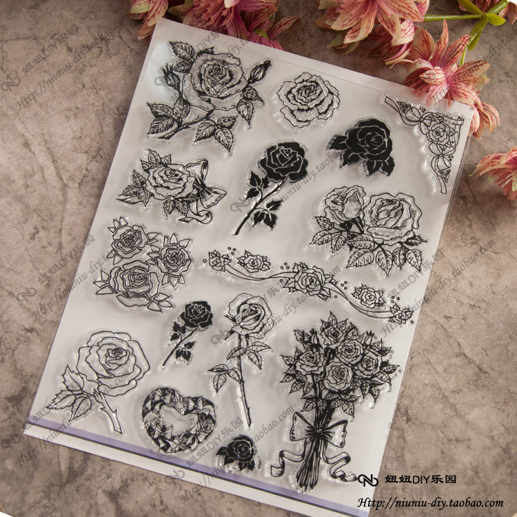 Flower Scrapbook DIY photo cards account rubber stamp clear stamp seal transparent silicone Handcrafted art stamps scrapbook diy photo cards account rubber stamp clear stamp finished transparent chapter wall decoration 15 18