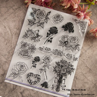 Flower Scrapbook DIY photo cards account rubber stamp clear stamp seal transparent silicone Handcrafted art stamps