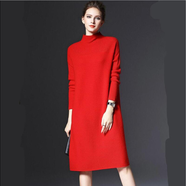 f0f3292a380 New Winter Knitted Dress Women Office Sexy yellow Red green Turtleneck  Autunm Sweater Dress Robe Plus size dress M-4XL 5XL