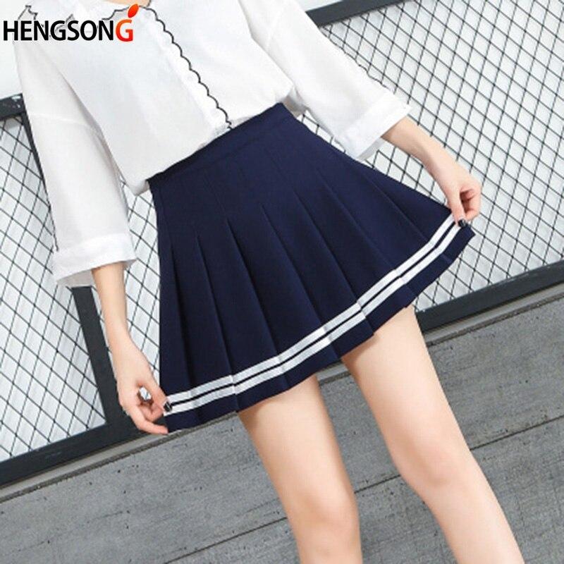 Women Cute Elegant Skirt School Uniforms Striped Skirt For Students Harajuku Style High Waist Pleated Skirts Girls