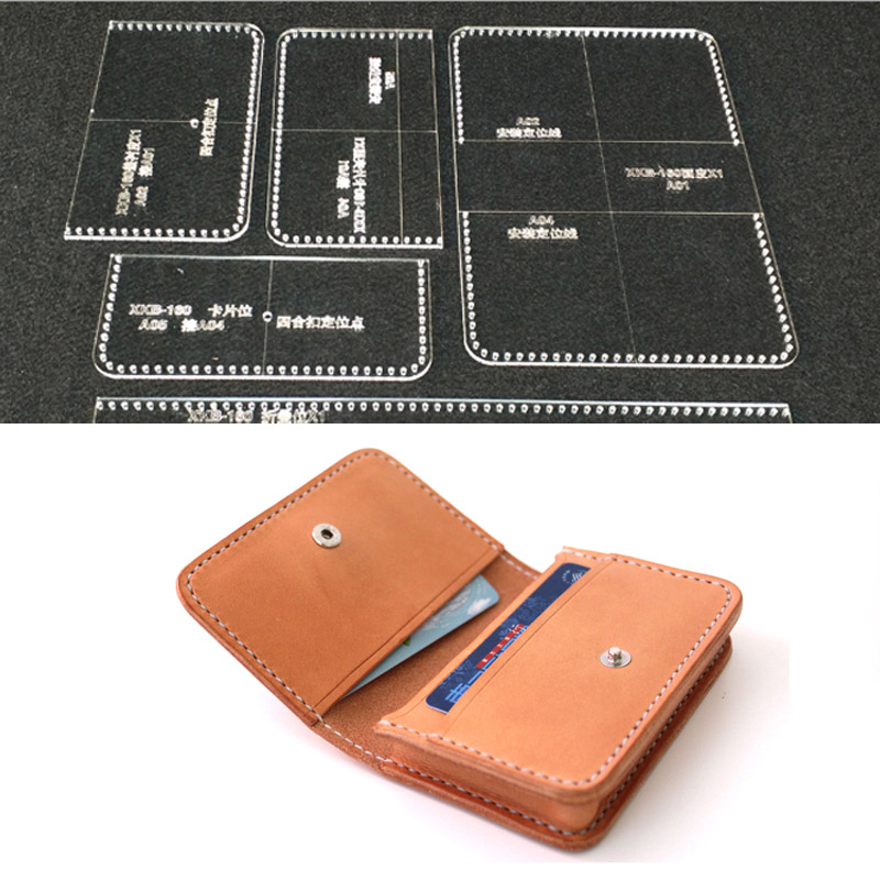 Acrylic Stencil Durable Laser Cut Wallet Phone Bag Leather Template DIY Leathercraft sewing Pattern 21X9.5X1CM