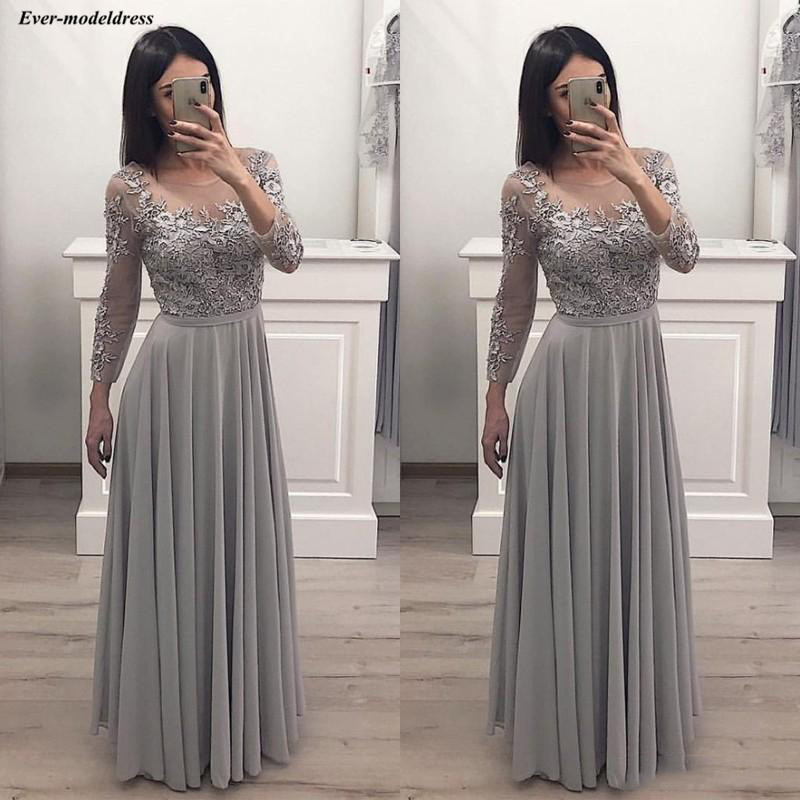 Gray Chiffon Long Sleeves Prom Dresses Lace Appliques See Through Maxi Long Formal Party Gowns 2019 vestido formatura