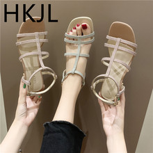 HKJL Fashion Roman sandals female 2019 new summer fashion wild high heels thick with heel A757
