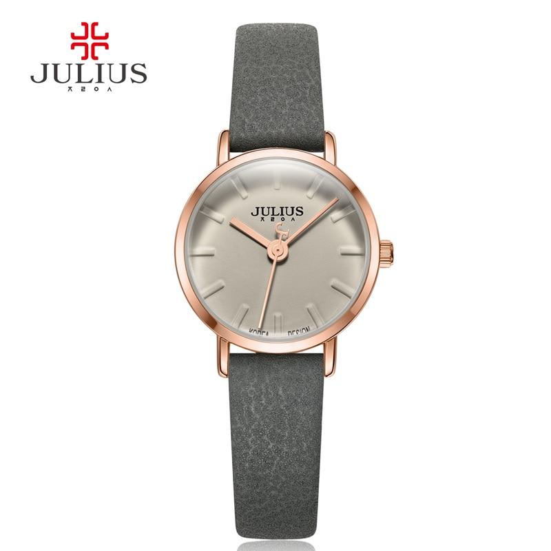 ФОТО Julius New Arrival Slim Leather Strap Quartz Watches Women Brand Luxury Watch Logo Water Resistant Clock Relojes Mujer JA-963