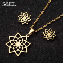 SMJEL Stainless Steel Flower Necklace for Women Girls Fashion Earings Jewelry Set Geometric Mandala Earring Korean Style(China)