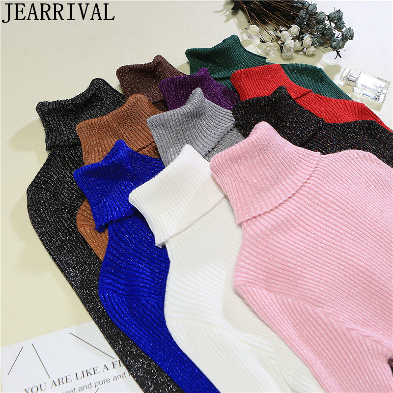 Autumn Winter Women Turtleneck Sweater New Fashion Long Sleeve Bling Lurex High Elasticity Pullover Knitted Jumper Pull Femme