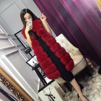 New winter women Long Fur Vest Luxury Faux Fox Fur Vest Furry Slim Woman Fake Fur Vest Plus Size Faux Fur s1497