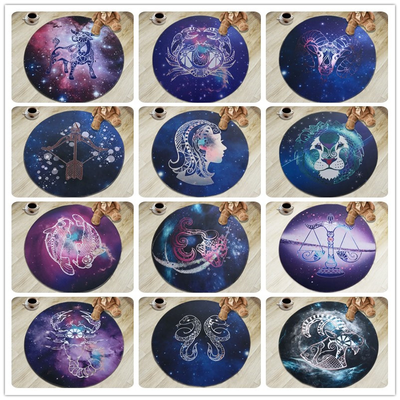 Creative 12 Constellation Round Carpets For living room bedroom Kids Cartoon computer chair Floor mat Modern Home Decor Carpet