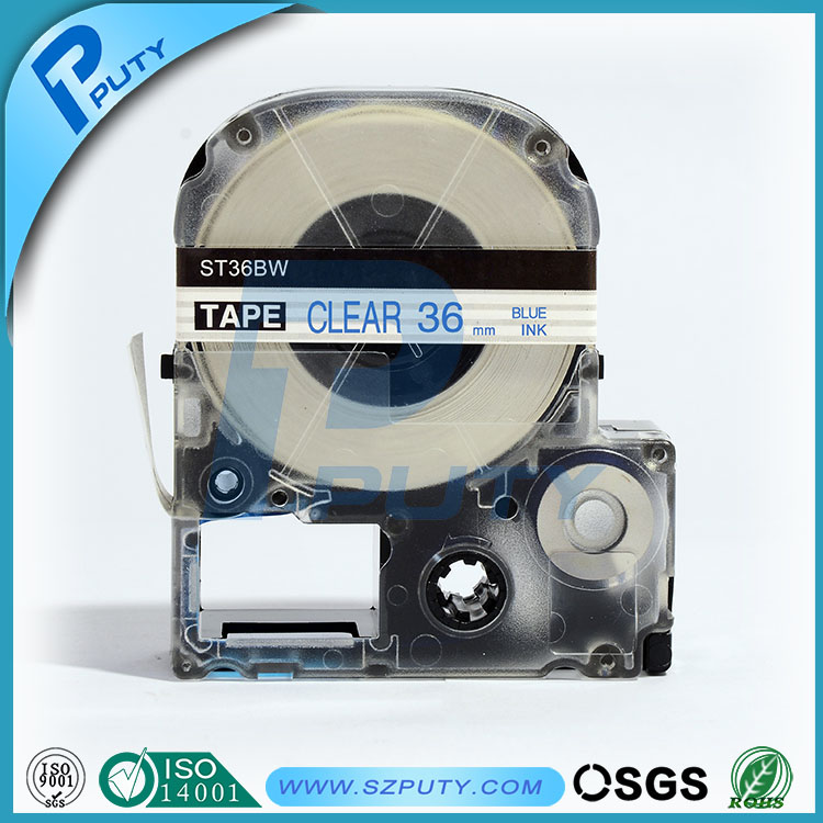 high quality compatible ST36BW 36mm Blue on Clear label tape