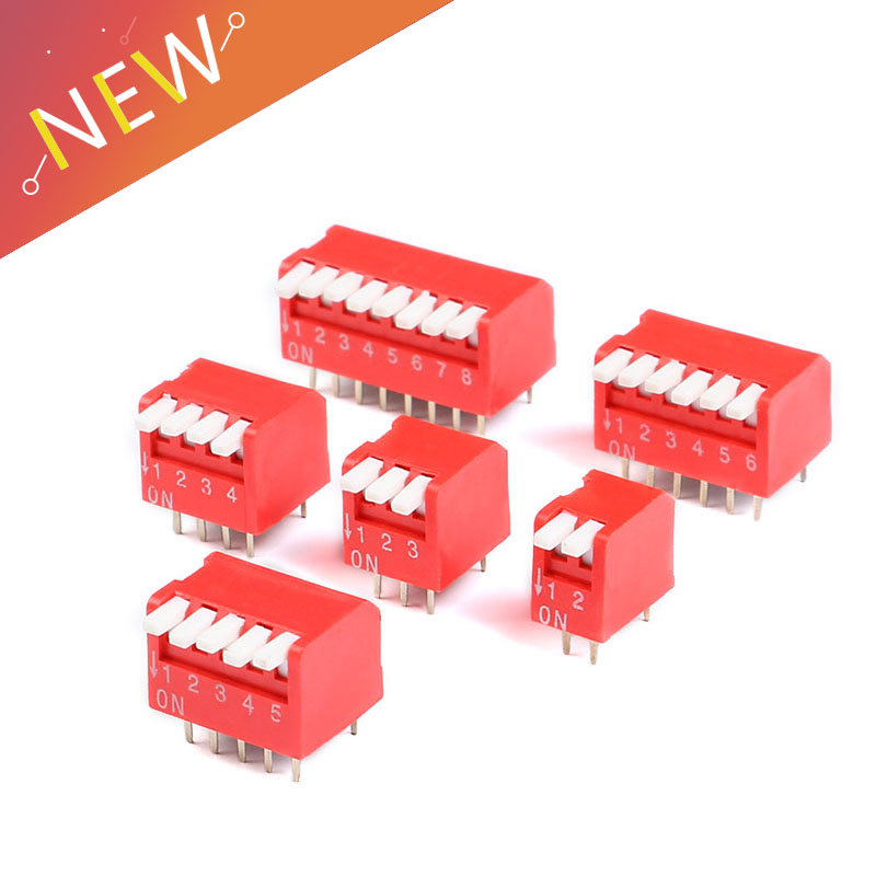 50Pcs Dip Slide Type Switch Module 2.54MM 5-Bit 5 Position Way Red Pitch New si