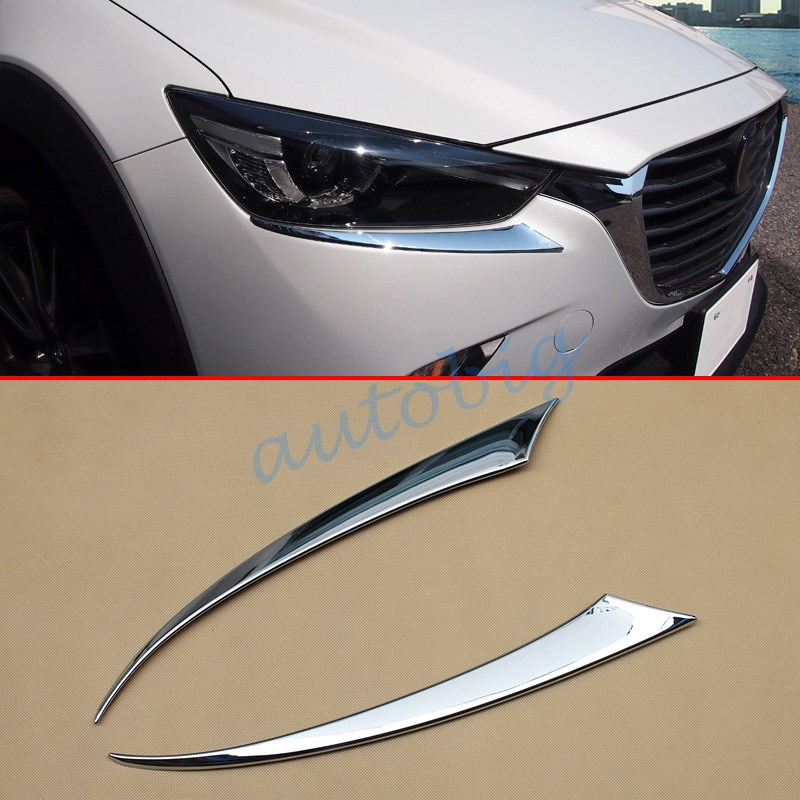 Chrome Head Light Eyelid For Mazda Cx3 2016 2017 Cx 3