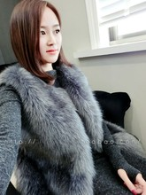 Free shipping 2016 autumn and winter fashion sweet slim medium long fox fur vest female top