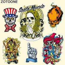 ZOTOONE New Mexican Cowboy Skull Biker Patches for Clothing Jacket T-shirt Thermal Transfer Iron on Patch Resistant To Washing C