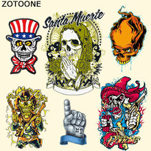 ZOTOONE New Mexican Cowboy Skull Biker Patches for Clothing Jacket T-shirt Thermal Transfer Iron on Patch Resistant To Washing C(China)