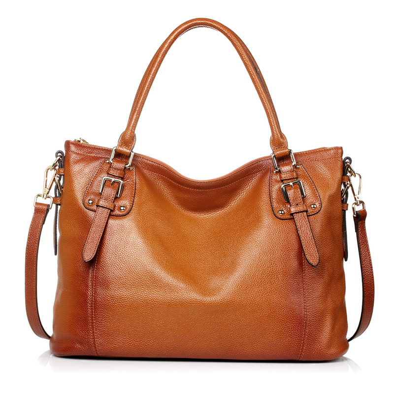 Nesitu Large Vintage Brown Genuine Leather Women Messenger Bags Cowhide Shoulder Bag Women Leather Handbags Office Totes #M9202 pmsix chinese style brand women handbags genuine leather bag printing cowhide women totes national vintage women messenger bags