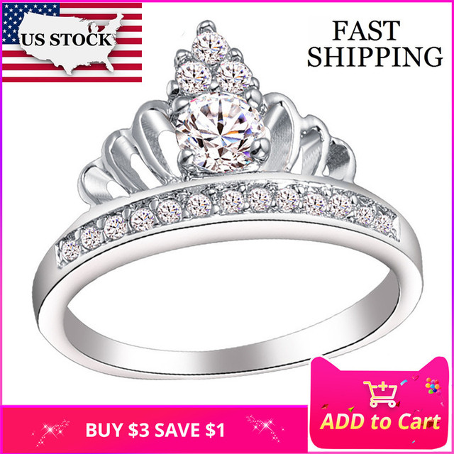 086bf5cb5ce2 STOCK 15% corona boda anillo de piedra de plata de las mujeres anillos con  piedras