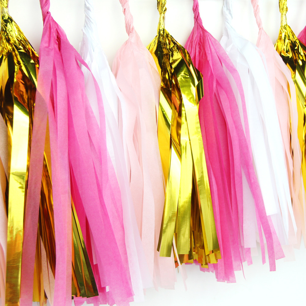 (Fuchsia Pink Gold) 20pcs Stunning Paper Tassel Ga...