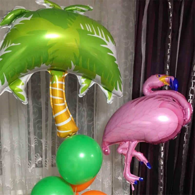 ハワイアンパーティーの装飾フラミンゴ花輪ヤシの葉ケーキトッパービーチ夏トロピカルパーティー装飾用品