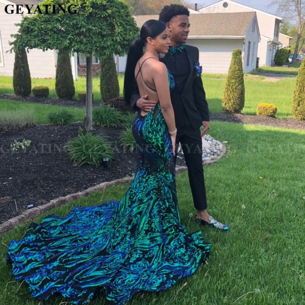 Sexy V-Neck Backless Mermaid Emerald Green African   Prom     Dresses   for Black Girls Bling Sequin Court Train Graduation Party   Dress