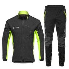 Зимняя высококачественная одежда для велоспорта, ветрозащитная Теплая мужская велосипедная одежда с длинным рукавом, теплые велосипедные штаны на молнии, комплекты для велоспорта