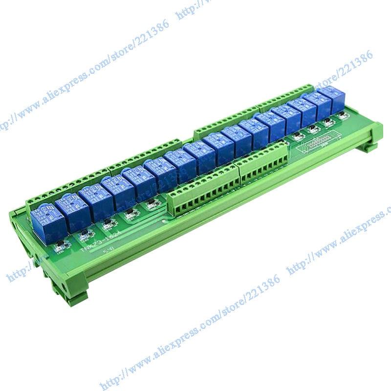 16 Channels 5V 10A SRD-5VDC-SL Relay Module Driver Board Output Amplifier Board DIN Rail Relay Module Mount-PNP