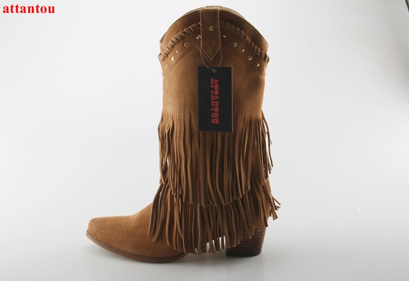Autumn Fashion brown suede leather women boots thick heel shoes cool tassel slip-on straped fringe decor female short boot new fashion boots autumn cool