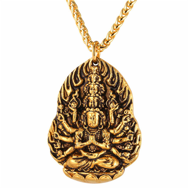 Blessed kwan yin bodhisattva necklace stainless steel charm guanyin blessed kwan yin bodhisattva necklace stainless steel charm guanyin buddha menwomen rope chain thecheapjerseys Gallery
