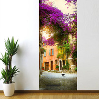 French Town Bedroom Door Stickers 3D Wall Decal Decoration Mural Door Renovation Wall Stickers Art Pegatinas