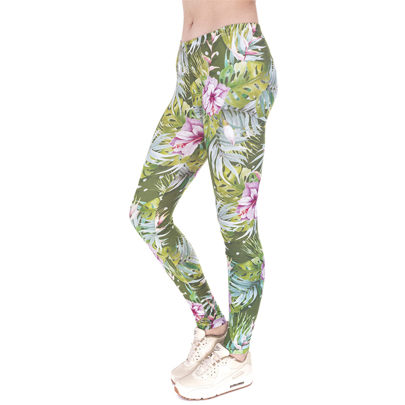 Women Basic Casual Strecthed Green tropical flowers Leggings Funny High Waist Skinny Floral Print Pants Pantalones