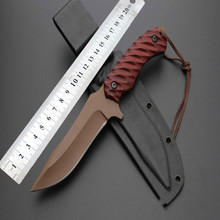 2016 Sand Colored Fixed Tactical Knife 5Cr13 Blade Pocket Hunting Survival Knives Camping EDC Tools With Black & Red G10 Handle