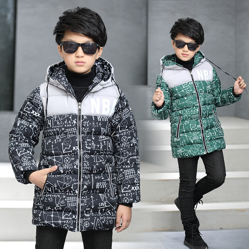 2018 Winter Jackets Boys Coats Warm Cotton Children Boy Jacket Long Sleeve Kids Outerwear Hooded Coats For School Boys 3-14years baby boy s fashion hooded coats 2017 winter cartoons little monster cute long sleeve jackets children s clothing warm outerwear