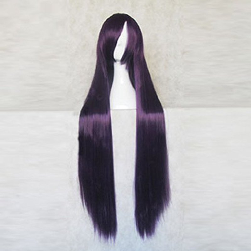 Super Danganronpa 2 Mikan Tsumiki Purple Black 100CM Long Cosplay Costume Wig + Free Wig Cap