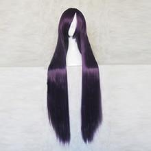 سوبر دانغانرونا 2 ميكان تسوميكي الأرجواني الأسود 100 سنتيمتر تأثيري حلي طويلة شعر مستعار + شعر مستعار مجانية